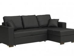 Canapé d'angle convertible PARIGI en tissu enduit polyuréthane simili façon cuir noir + coffre : le look cuir à prix abordable